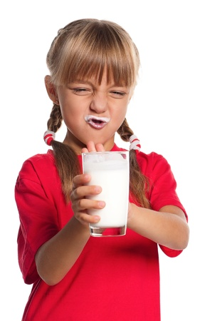 white moustache: Little girl with glass of milk