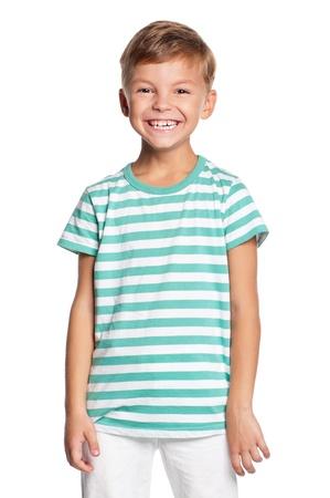 Portrait of little boy isolated on white background Standard-Bild