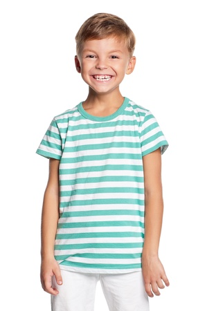 Portrait of little boy isolated on white background Stock Photo