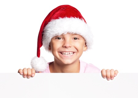 Boy in Santa hat Stock Photo - 16594188