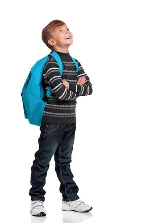 Boy with backpack Standard-Bild