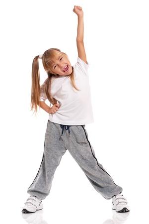 pies bailando: Niña bailando Foto de archivo