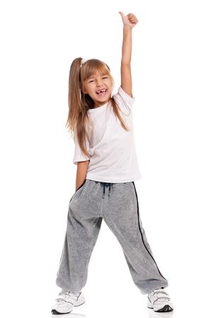 break dance: Little girl dancing