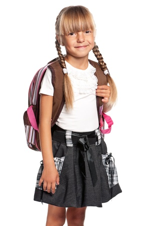 Little girl with backpack photo
