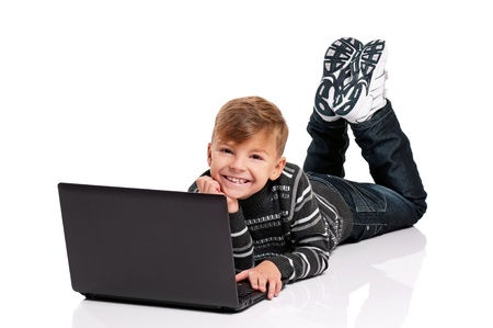 Boy with laptop Stock Photo - 17600514