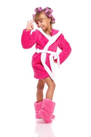 Little girl in pink bathrobe Stock Photo - 17600508