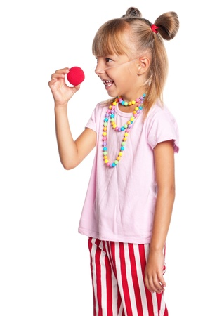 Little girl with clown nose Stock Photo - 17600515