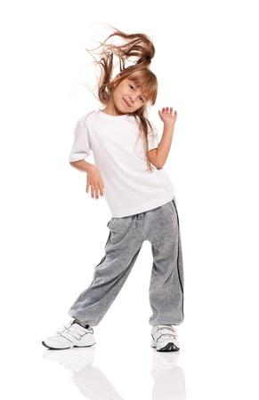 baile hip hop: Ni�a bailando Foto de archivo
