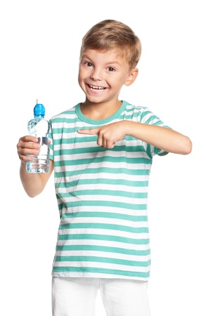 Boy with bottle of water