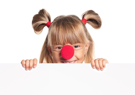 Little girl with clown nose Stock Photo - 17927209
