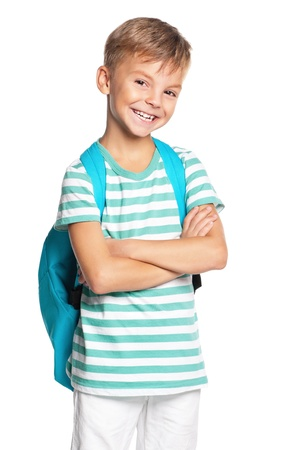 8 9 years: Boy with backpack Stock Photo