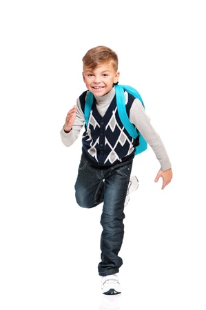 Boy with backpack Stock Photo