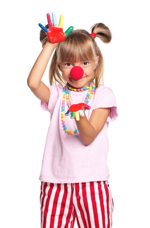 Little girl with clown nose Stock Photo - 18058114