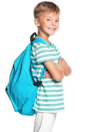 schoolbag: Boy with backpack Stock Photo