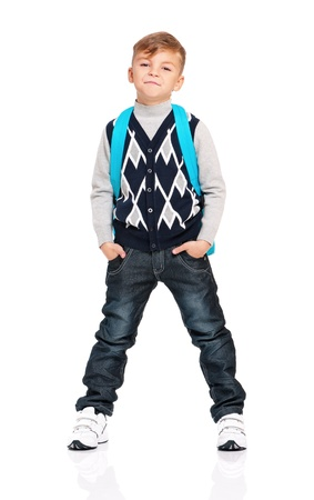 Boy with backpack photo