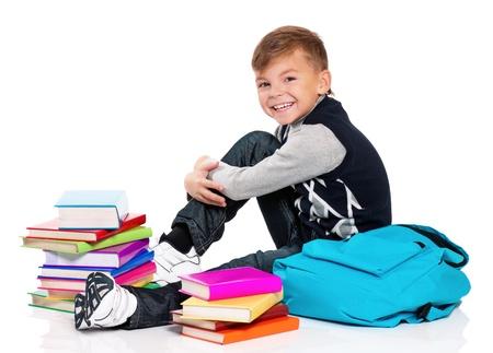 Boy with books photo