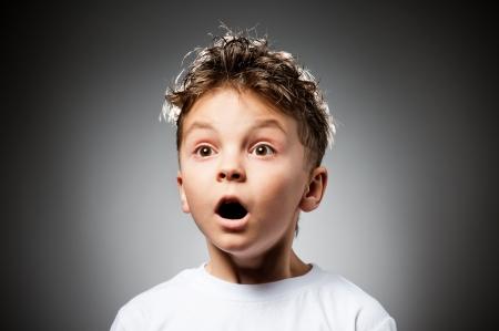 shocked face: Emotional boy