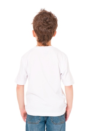 one little boy: T-shirt on boy Stock Photo