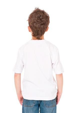 back posing: T-shirt on boy Stock Photo