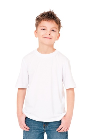 boy body: T-shirt on boy Stock Photo