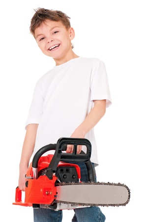 Boy with chainsaw photo