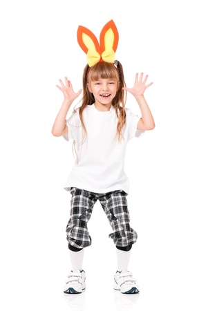 Girl with rabbit ears photo