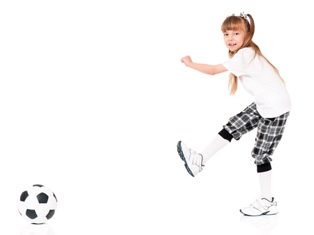 Little girl with soccer ball photo