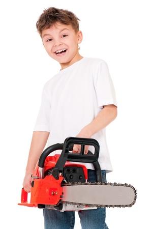 chainsaw: Boy with chainsaw Stock Photo
