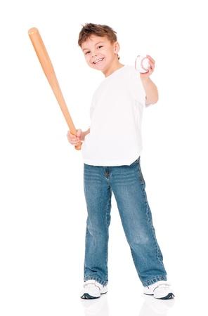 Garçon avec la batte de baseball