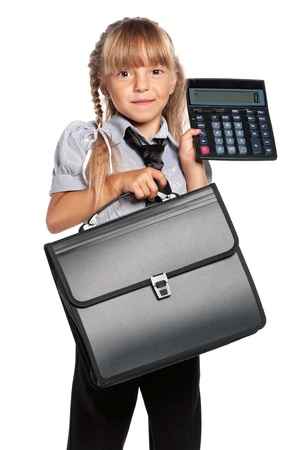 Little girl with briefcase and calculator, isolated on white background photo