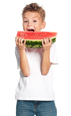 Boy with watermelon photo