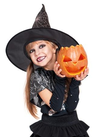 Bambina in costume di Halloween Archivio Fotografico