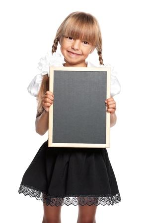 Little girl with small blackboard photo