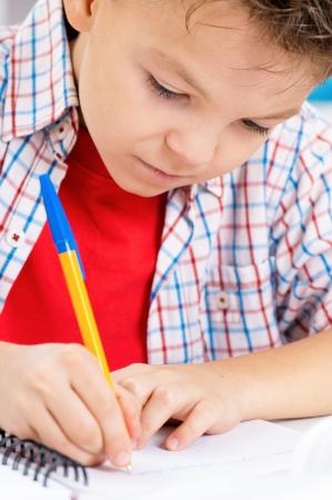niños escribiendo: Ni?o haciendo los deberes Foto de archivo