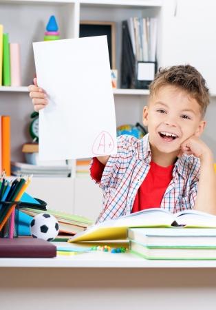 middle school: Boy doing homework