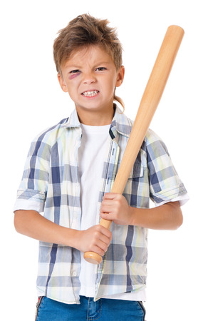 boy boxing: Portrait of boy with bruise and wooden baseball bat, isolated on white background Stock Photo