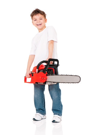 sawyer: Boy in white T-shirt with chainsaw isolated on white background