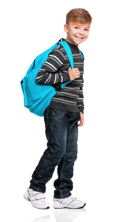 schoolbag: Full length portrait of a schoolboy with backpack, isolated on white background