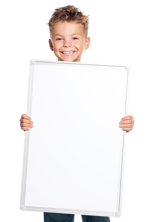 holding blank sign: Boy holding banner isolated on white background