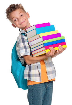 school year: Boy with books
