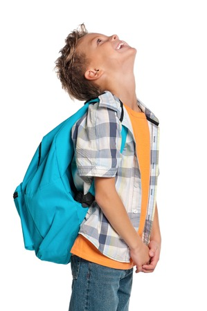 back up: Boy with backpack Stock Photo