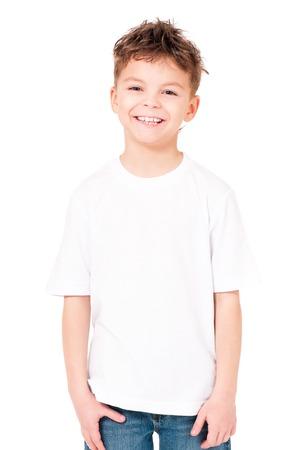 T-shirt on boy Archivio Fotografico