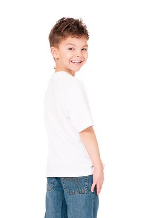 T-shirt on boy Standard-Bild