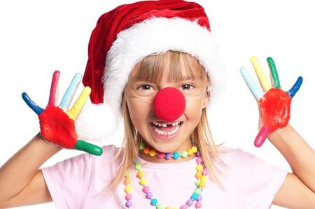 Little girl in Santa hat photo
