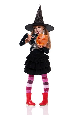 Little girl in halloween costume photo