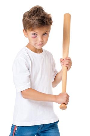 bruise: Portrait of boy with bruise and wooden baseball bat, isolated on white background Stock Photo