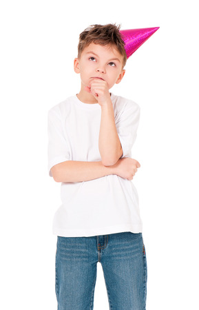 8 years birthday: Funny boy in birthday cap, isolated on white background