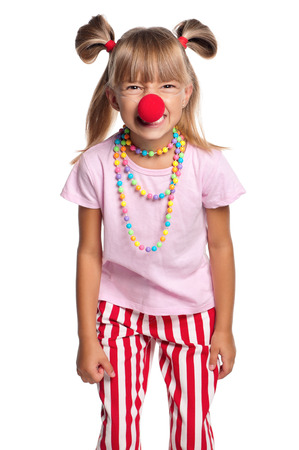 clown nose: Little girl with red clown nose isolated on white background