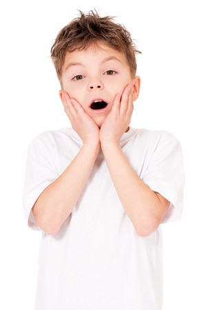 only one teenage boy: Portrait of shocked teen boy, isolated on white background