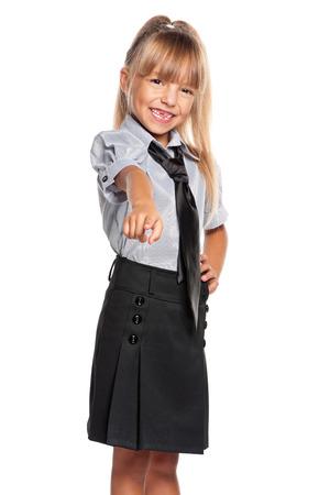 Little girl pointing finger at camera
